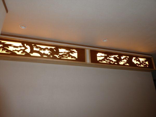 株式会社八興建設:欄間の照明がとてもいい雰囲気